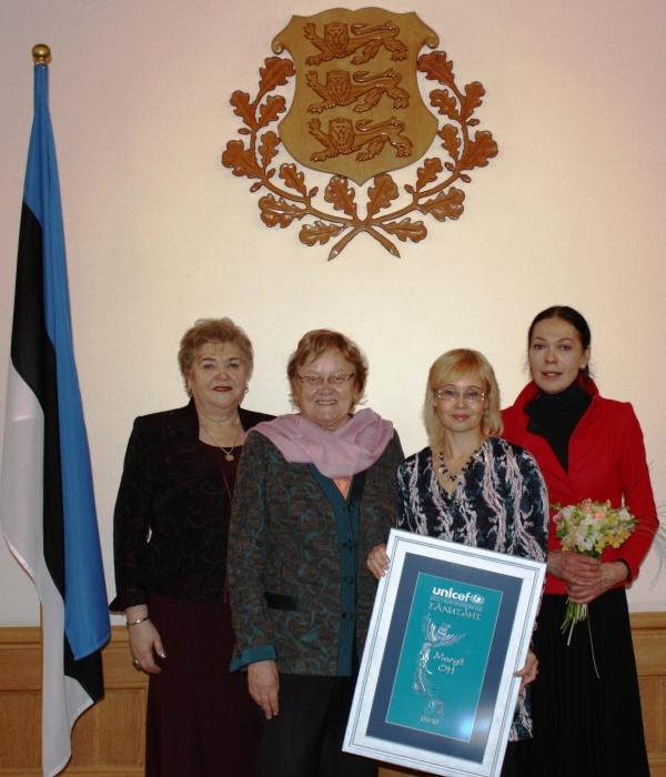 Õpetaja Margit Ott Unicefi auhinnatseremoonial